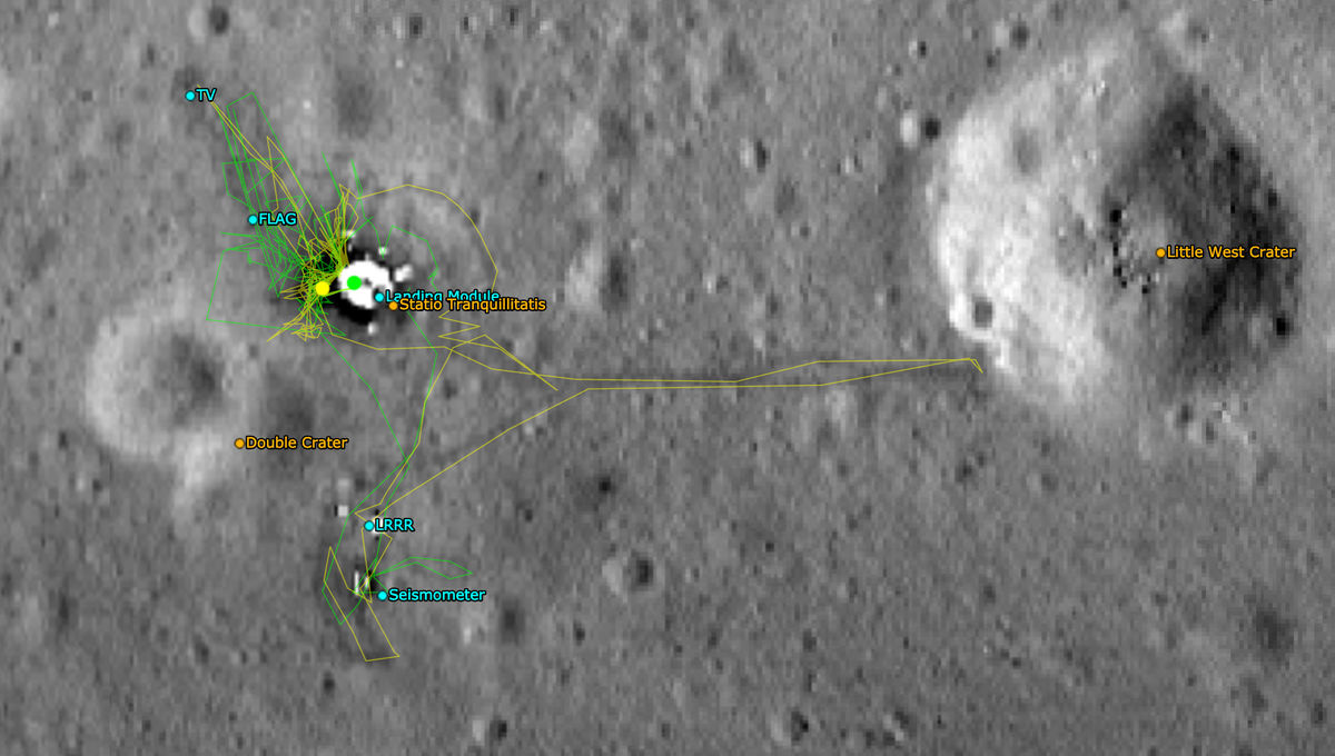 The Apollo 11 landing site imaged by LRO, with the astronaut timeline and various features marked. Credit: NASA/GSFC/Arizona State University