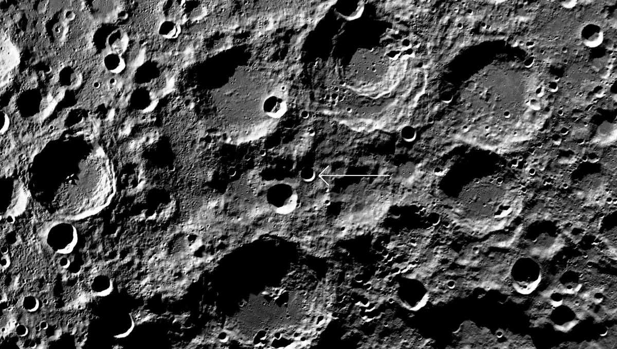 A map of the region near the lunar south pole shows the crater Boguslawsky E (arrowed). Credit: NASA/ /ASU/LRO