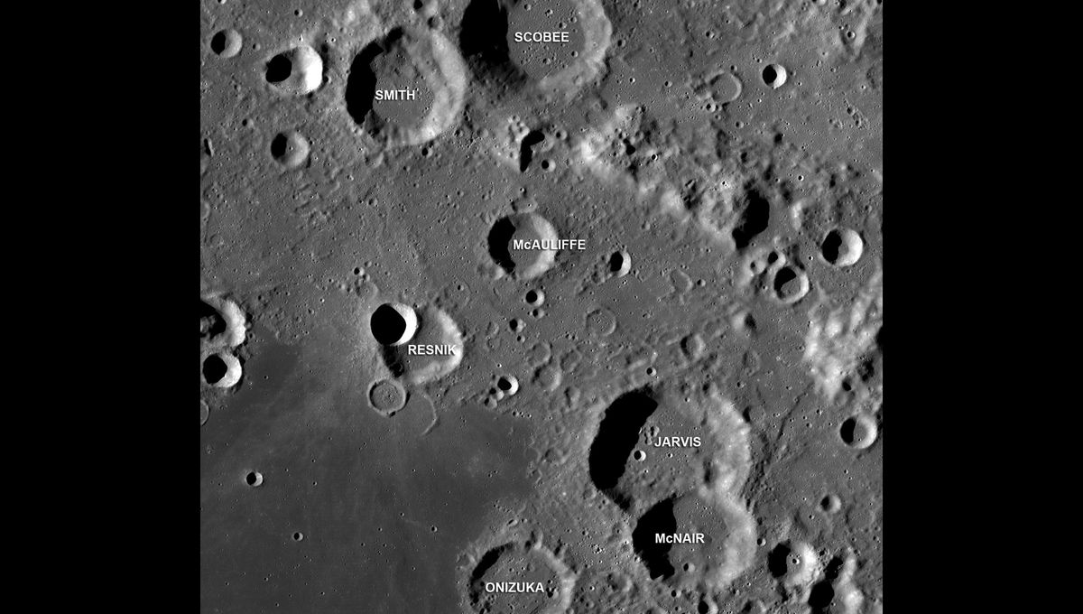 Craters on the Moon named after the Challenger astronauts. Credit:NASA/GSFC/Arizona State University