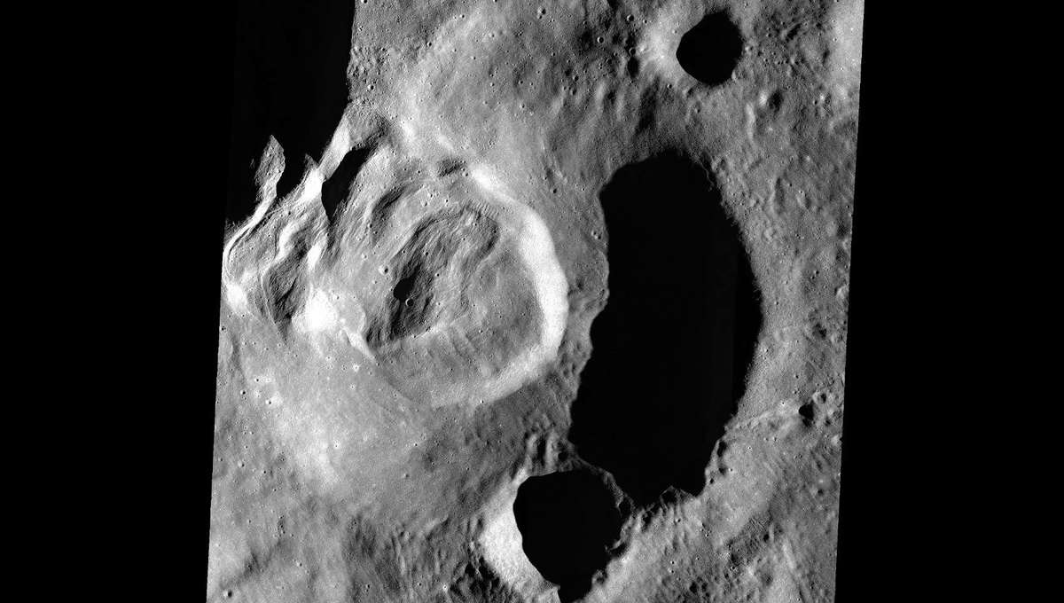 Long ago, an immense landslide occurred on the Moon's far side in an unnamed crater inside the much larger Klute crater. Credit: NASA/GSFC/Arizona State University