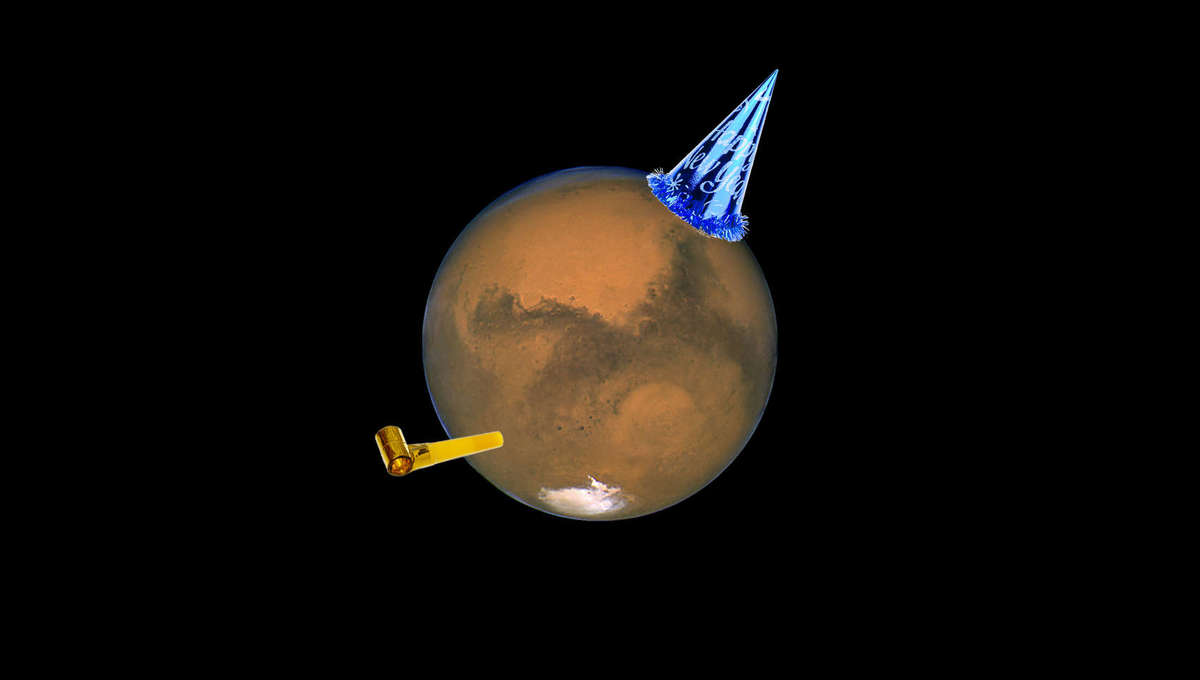 Happy Martian new year! Credit: Getty Images / Fotonen / arsenic and NASA/ESA, J. Bell (Cornell U.) and M. Wolff (SSI)