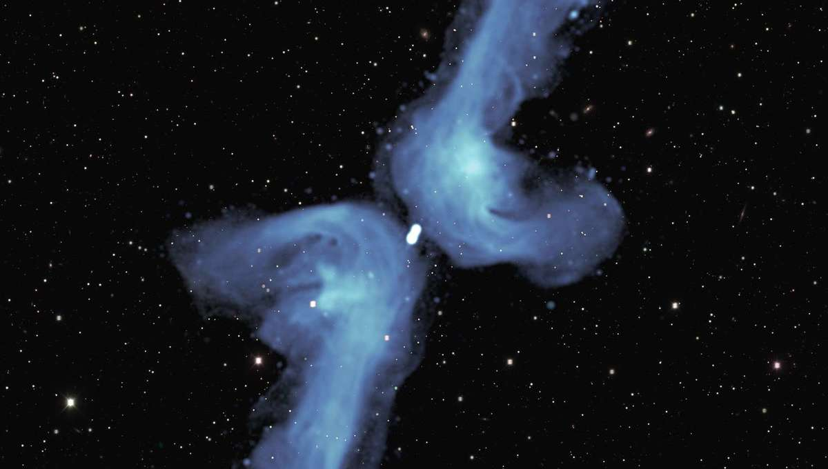 Radio image of the galaxy PGC 064440 shows it had jets of matter streaming away from it (long lines) in the past. Eventually the jets stopped, and the material is flowing back to the galaxy, but then gets pushed away to form the shorter arms of the X.