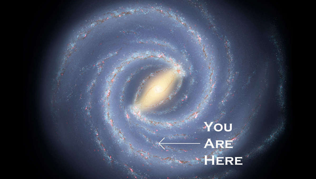 In case you get lost, you're 25,800 light years (or so) from the Milky Way's center. Credit: NASA/JPL-Caltech/R. Hurt (SSC/Caltech) & Phil Plait