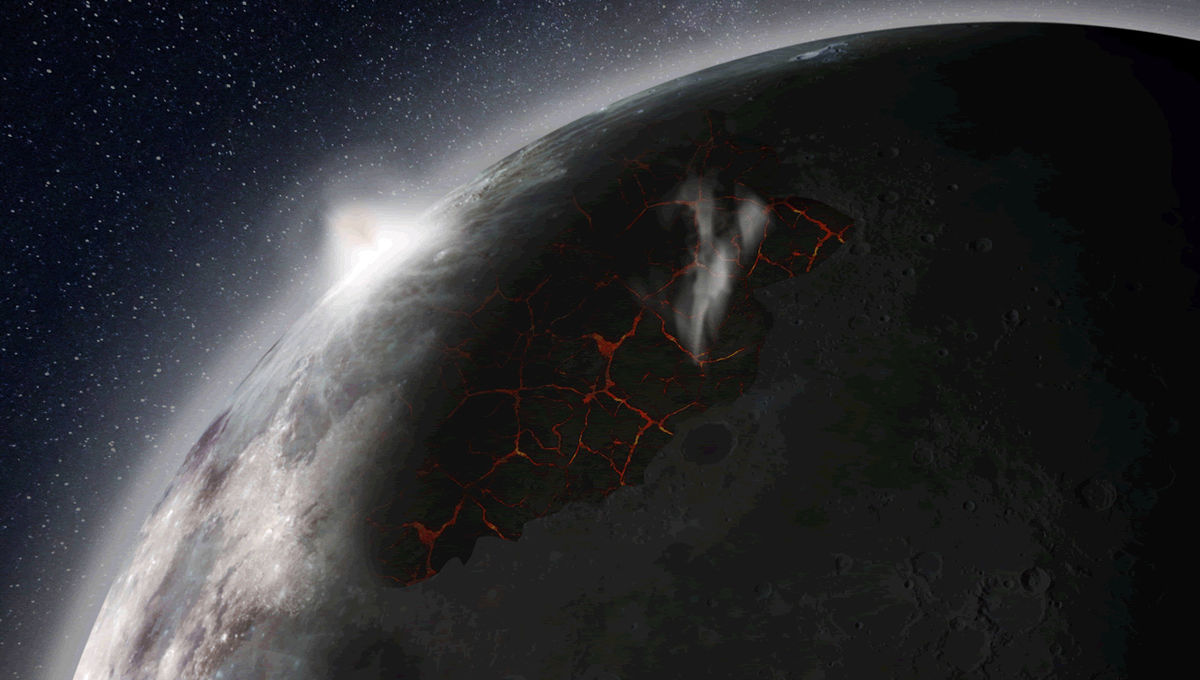 Artwork depicting the formation of the ancient Moon's atmosphere. Credit: NASA/MSFC