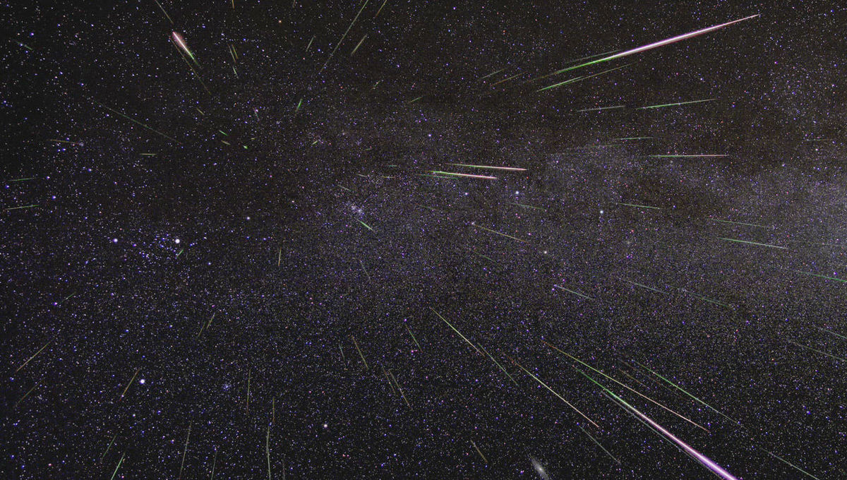 A meteor shower — in theis case, the Perseids — is usually composed of small bits material sloughed off a comet that burn up in our atmosphere. Credit: NASA/JPL