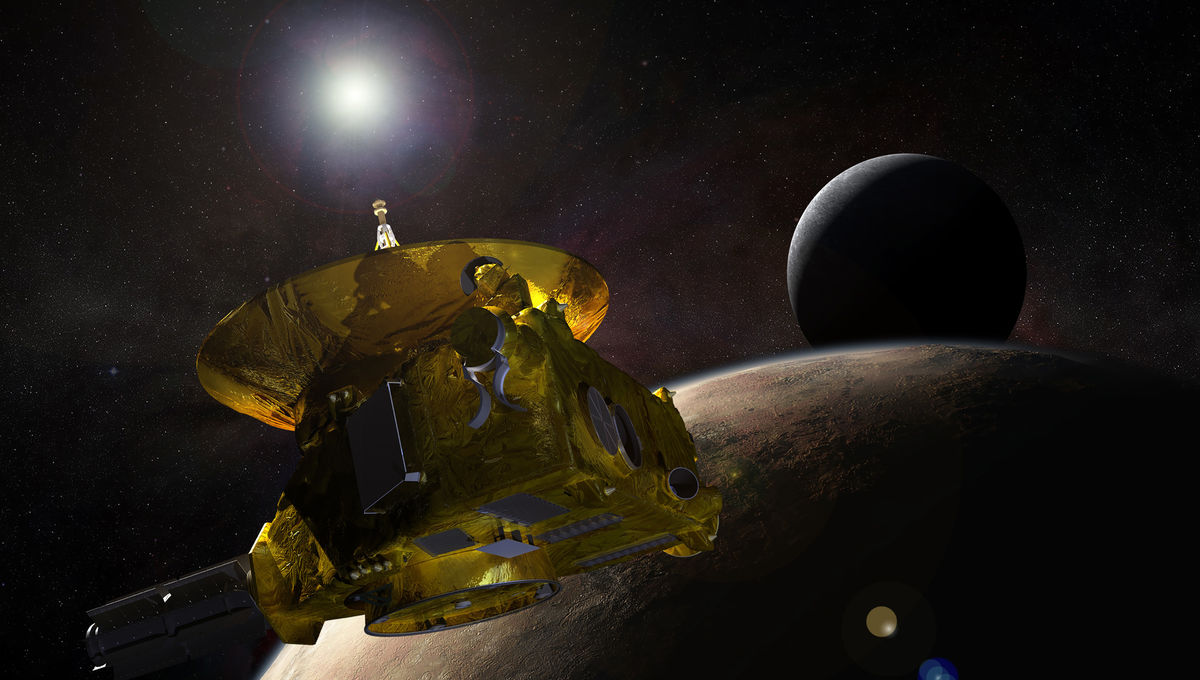 Artwork depicting the New Horizons spacecraft flyby of Pluto and Charon.