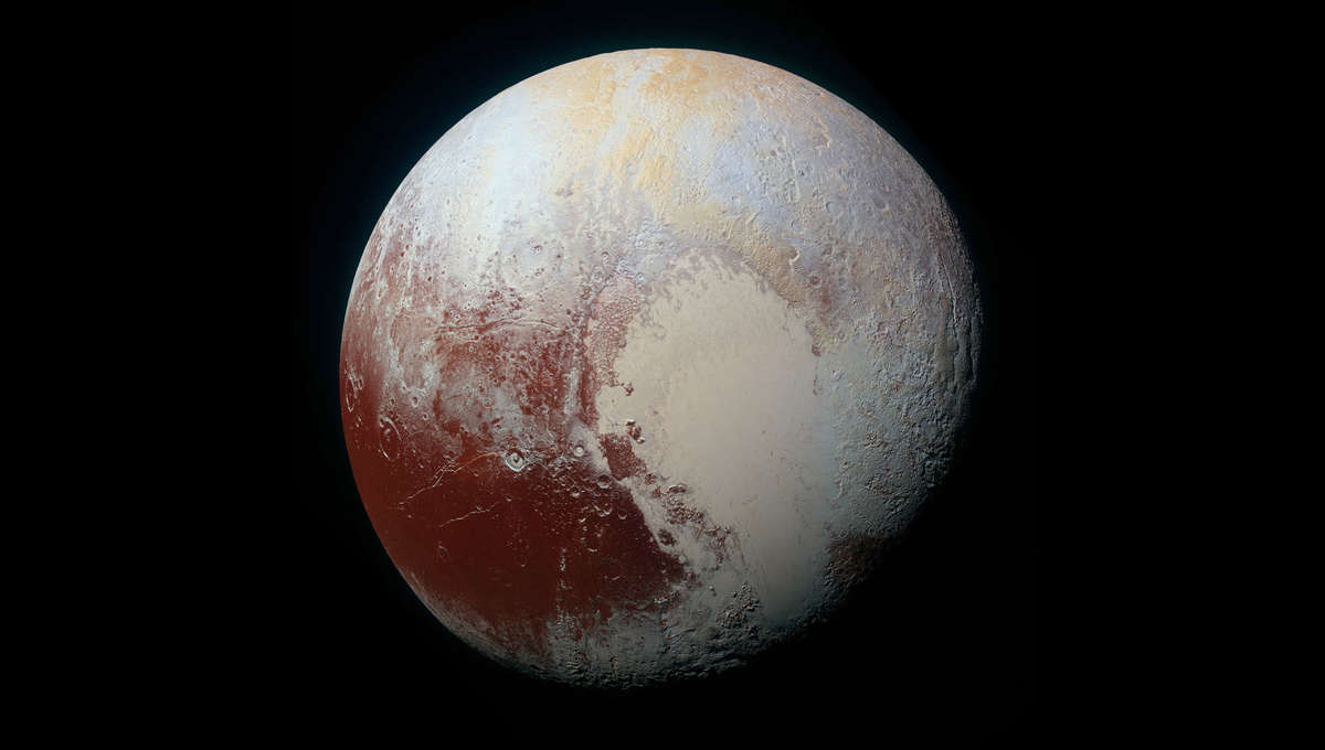 A mosaic of Pluto made from New Horizons images. Credit: NASA / JHUAPL / SwRI