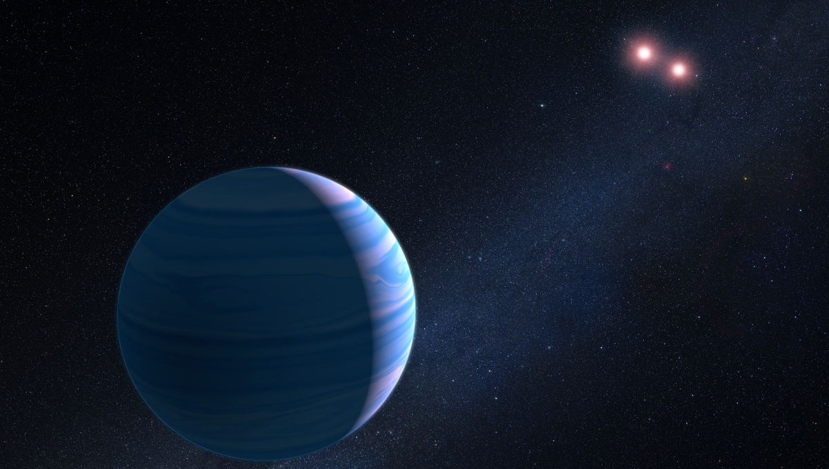 Artwork depicting the exoplanet orbiting a binary star pair, 10,000 light years from Earth. Credit: NASA, ESA, and G. Bacon (STScI)