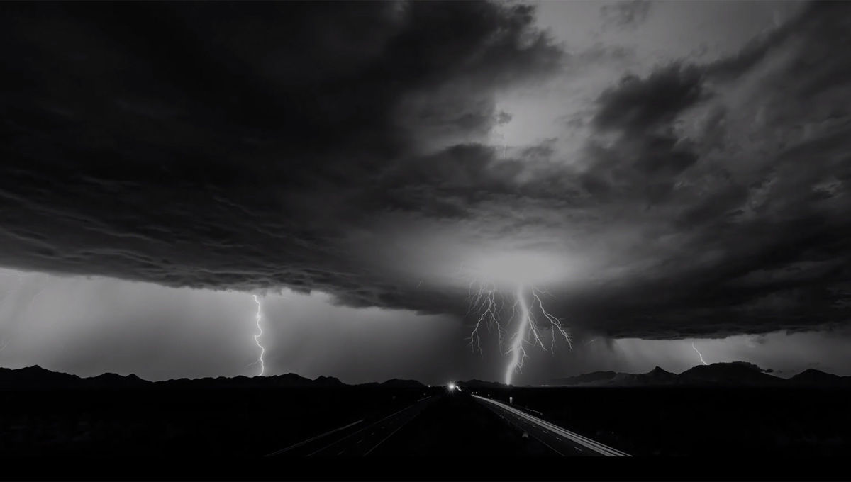 """A frame from thetime-lapse storm video, """"Reverent"""". Credit: Mike Olbinski"""