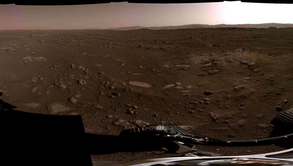 A 360° panorama of Mars seen from the Perseverance rover, composed of six individual images. Credit: NASA/JPL-Caltech