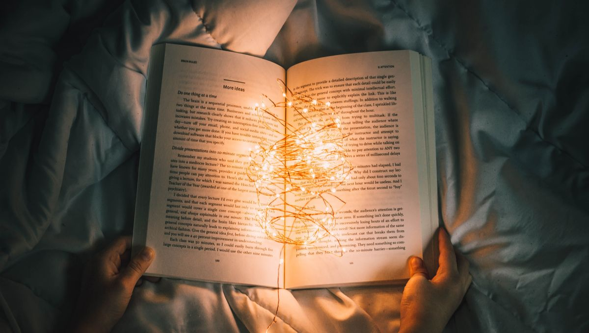 Person reading with book lights