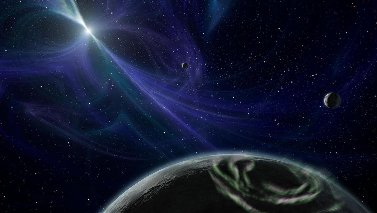 Artwork depicting the three planets orbiting the pulsar PSR B1257_12. Credit: NASA/JPL-Caltech