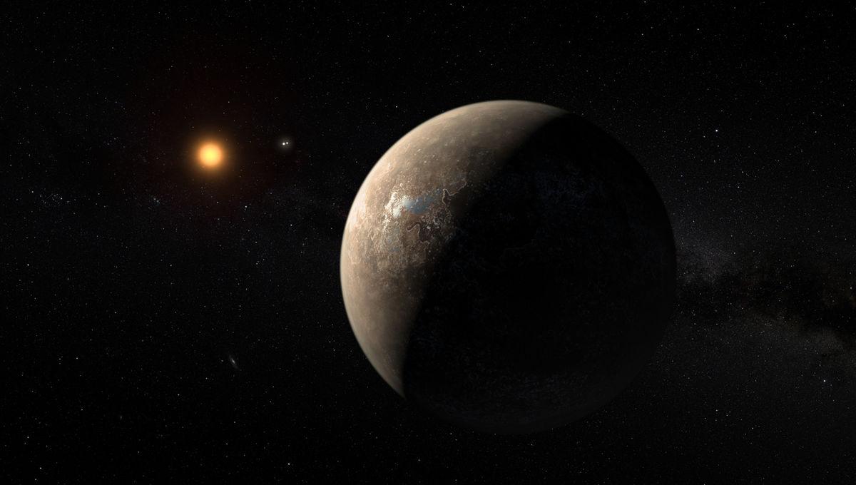 Artwork depicting Proxima Centauri b, orbiting a red dwarf (that itself orbits the binary star Alpha Centauri) more than four light-years away. Credit:ESO/M. Kornmesser