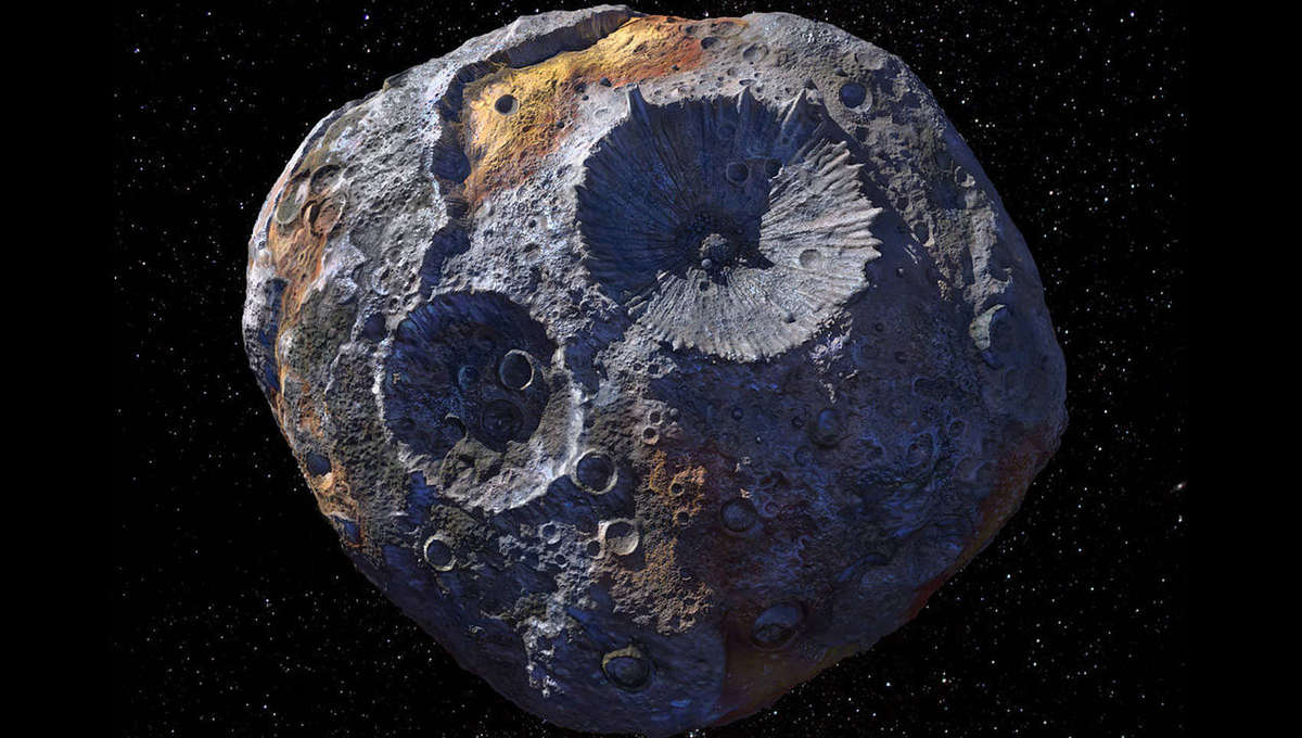 Artwork of the metal asteroid Psyche, based on real observations of its shape. Credit: Maxar/ASU/P.Rubin/NASA/JPL-Caltech