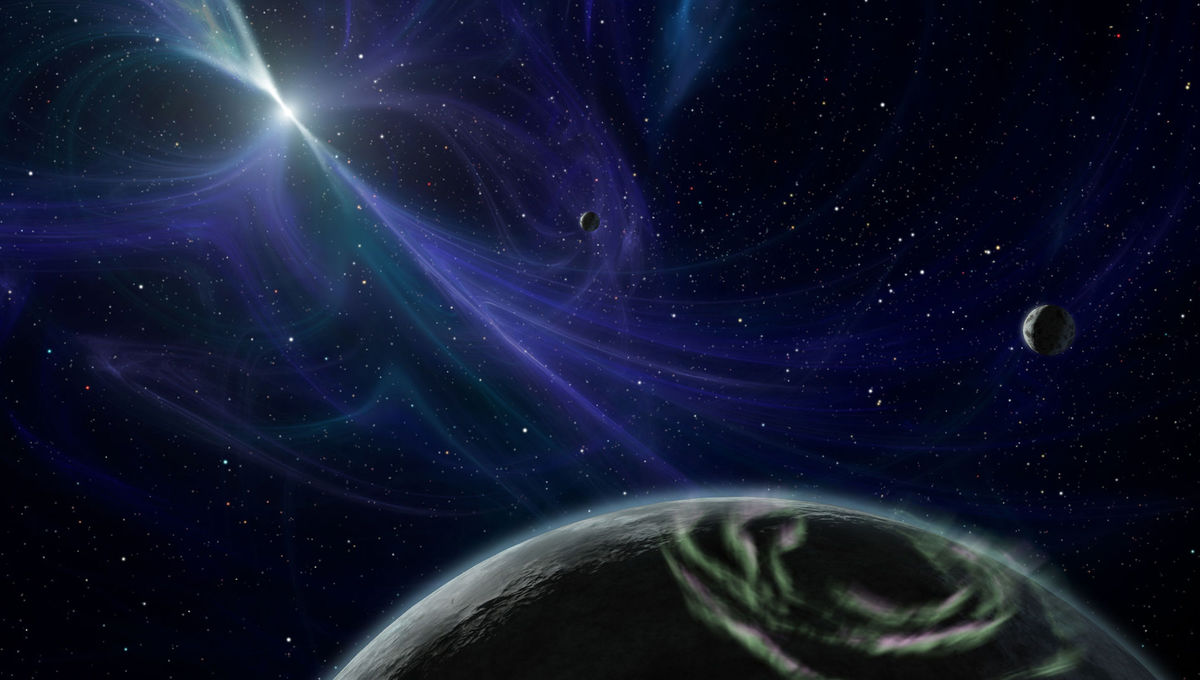 Artwork depicting planets orbiting the pulsar PSR B1257+12, the first true exoplanetary system ever found. Credit: NASA/JPL-Caltech/Robert Hurt (SSC)