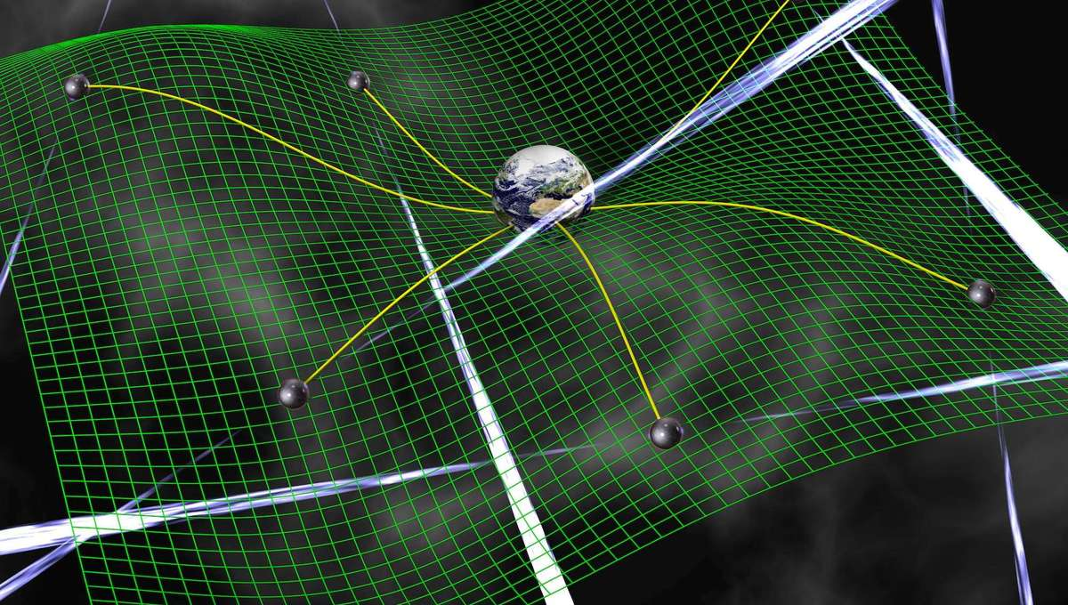 Artwork depicting gravitational waves distorting space, changing the way neutron star pulses arrive at Earth. Credit: David Champion