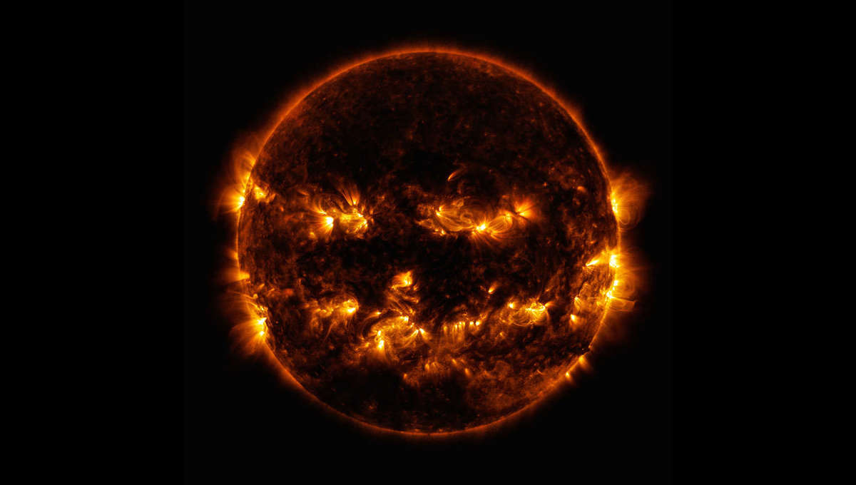 The Sun as seen by the Solar Dynamics Observatory in extreme ultraviolet (17.1 and 19.3 nanometers) makes it look like a pumpkin; magnetic activity was near its peak at the time. Credit: NASA/GSFC/SDO