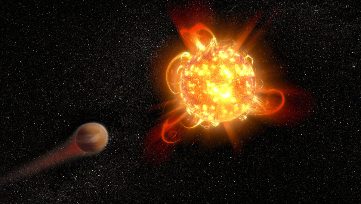Artist depiction of a young red dwarf star blasting out flares that erode the atmosphere of a nearby planet. Credit: NASA, ESA, and D. Player (STScI)