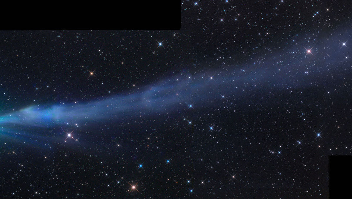 Comet C/2014 Q2 Lovejoy in late December, 2014, shows the diffuse green glow of diatomic carbon around the head, but also a spectacular tail glowing blue (likely also due at least in part to C2) that stretched for millions of kilometers.