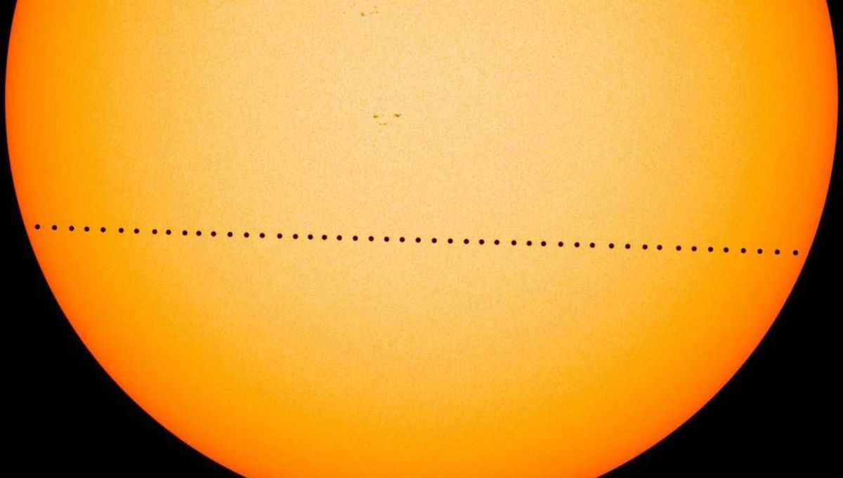 A composite image shows the entire transit of Mercury from 9 May 2016, as seen by NASA's space-based Solar Dynamics Observatory. Credit: NASA/GSFC/SDO/Genna Duberstein