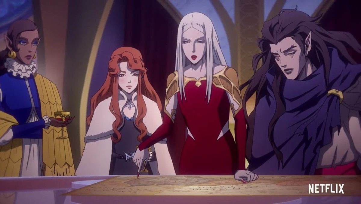 Carmilla and the vampire sisters are up to no good in Castlevania S3. [Credit: Netflix]
