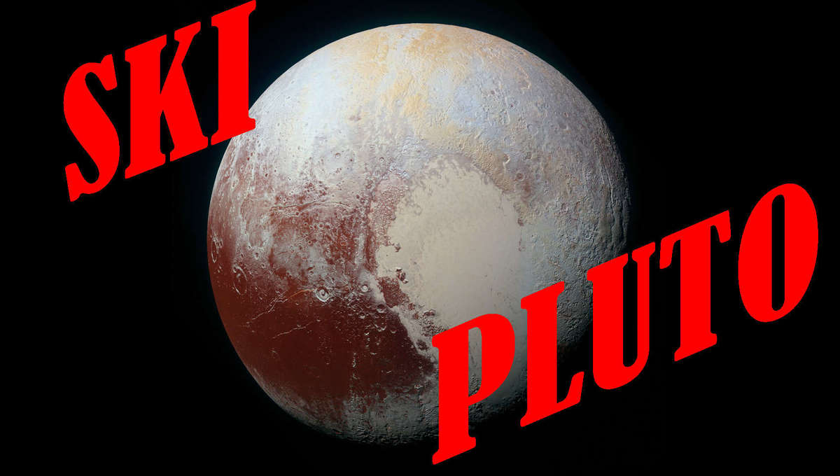 A color-enhanced mosaic of Pluto made from New Horizons images when it passed the icy world in 2015. Maybe I should make this a bumper sticker. Credit: NASA / JHUAPL / SwRI
