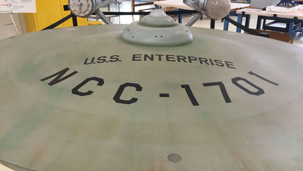 """The saucer section of the original USS Enterprise model from the """"Star Trek"""" original series, being conserved at the Smithsonian National Air and Space Museum's Udvar-Hazy Center. Credit: Phil Plait"""