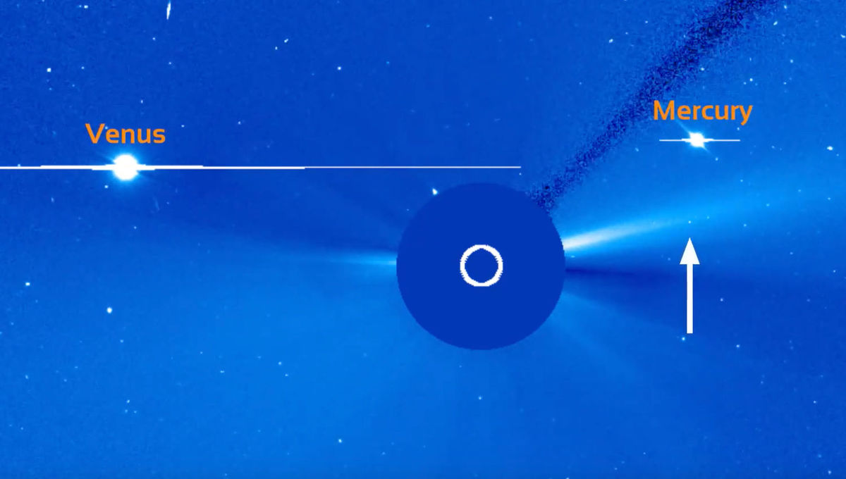 The comet-like asteroid 322P/SOHO was seen once again by SOHO in August 2019. Credit: ESA/NASA SOHO and Karl Battams