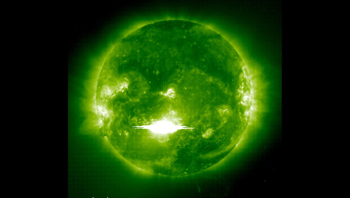 A huge solar flare erupted on the Sun in October 2003, seen here in X-rays. It was also accompanied by a powerful coronal mass ejection. Solar storms like these are a danger to our power grid and orbiting satellites. Credit: NASA/SOHO