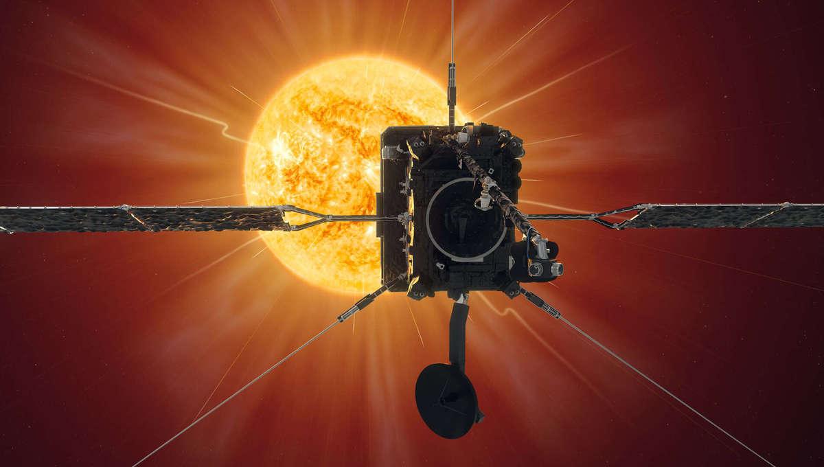 Artwork depicting Solar Orbiter approaching the Sun. Credit: ESA/Medialab