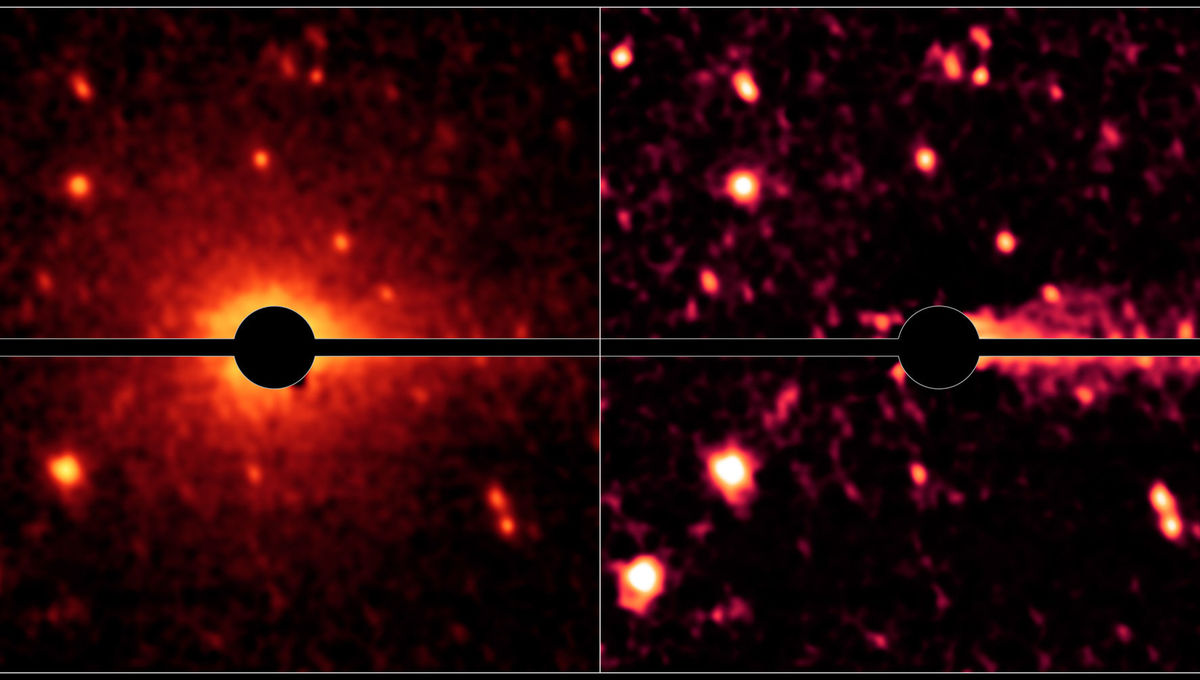 The not-quite-dead comet Don Quixote. Using a disk inside the telescope to block the brightest part of the object allows the fainter coma to shine through (left), and subtracting that reveals the even fainter cometary tail (right).