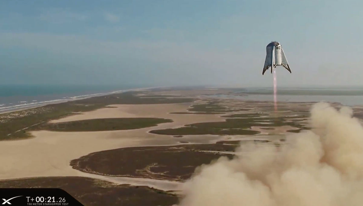 The SpaceX Starhopper test vehicle during its 150-meter test flight on August 27, 2019. Credit: SpaceX (captured from the live video stream)