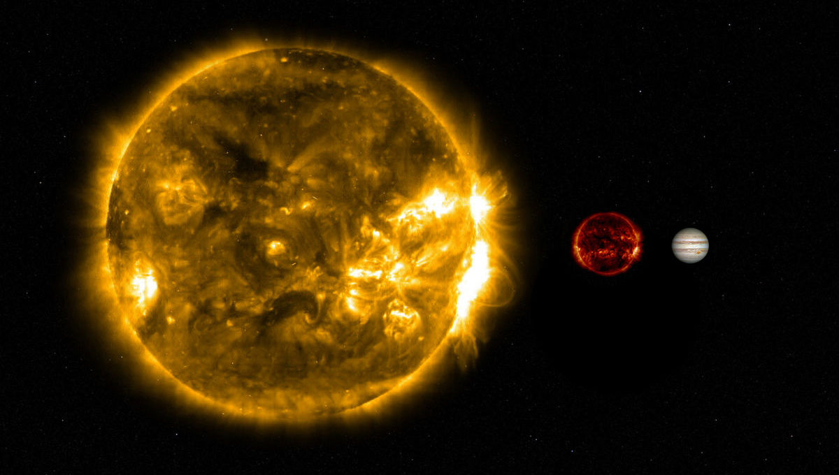 The Sun (left) is six times wider than Wolf 359 (middle, actually an image of the Sun in ultraviolet shrunk to the right scale), which is 60% wider than Jupiter (right).