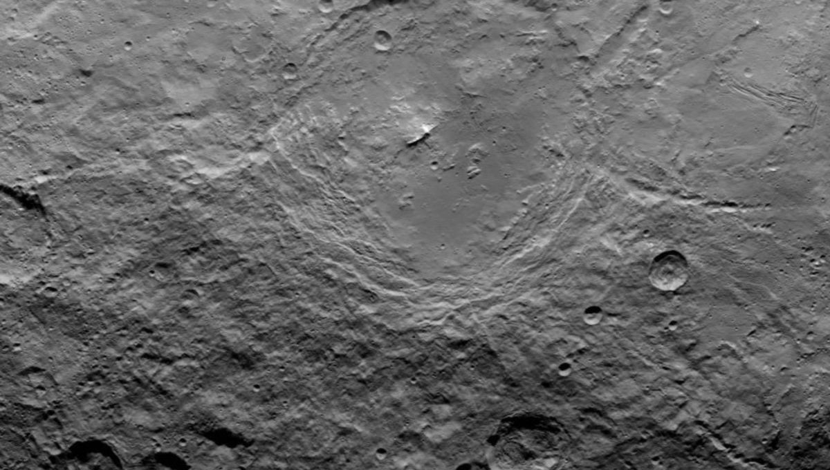 A wide view of the 163-kilometer crater Urvara on Ceres.
