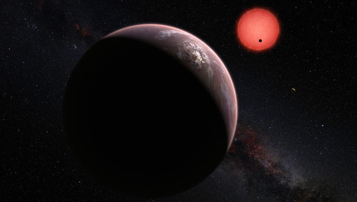 Artwork depicting a system of planets around a red dwarf star. Credit: ESO/M. Kornmesser/N. Risinger (skysurvey.org)