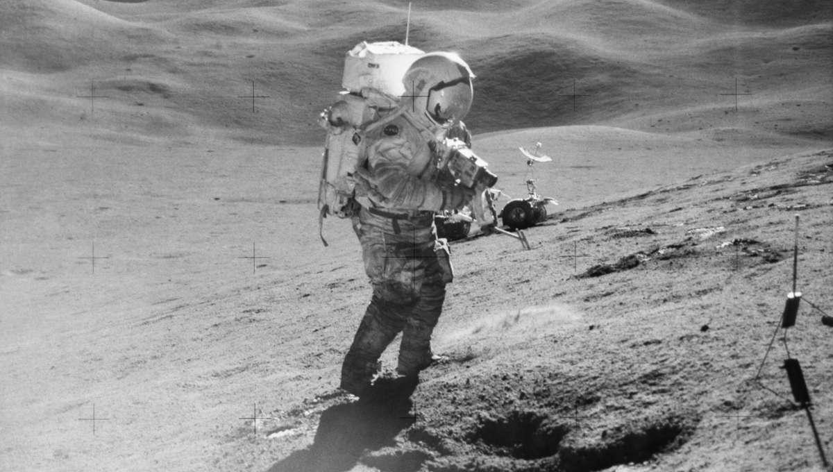 Apollo 15 astronaut on the moon