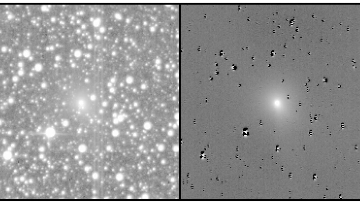 Two images show data from TESS (left) including the comet and stars, and then processed (right) with the stars removed to show the comet more clearly. Credit: Farnham et al.