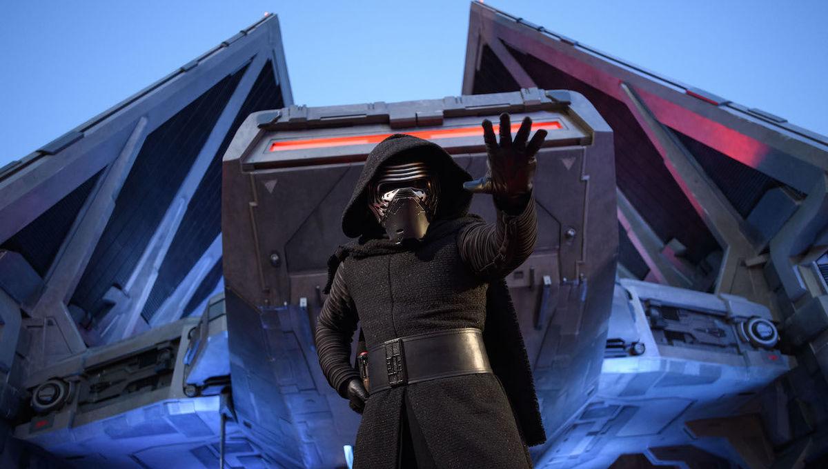 Kylon Ren and Star Wars TIE Echelon fighter at Disneyland