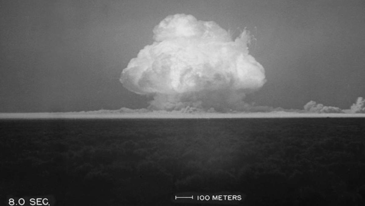The mushroom cloud that formed after the first atomic bomb test, called Trinity, in 1945 in Alamagordo, New Mexico. Credit: US Air Force, US Army, Department of Energy and National Park Service