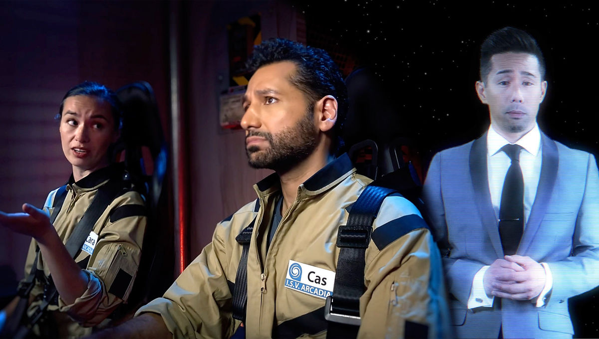 "Cara Gee and Cas Anvar (""The Expanse"") and Perry Shen (""General Hospital"") star in a series of videos about exoplanets. Credit: NASA/IPAC/Caltech/Universe Unplugged"