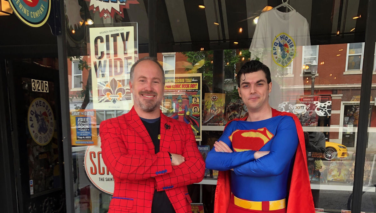 Martin Casas with Superman outside comic store