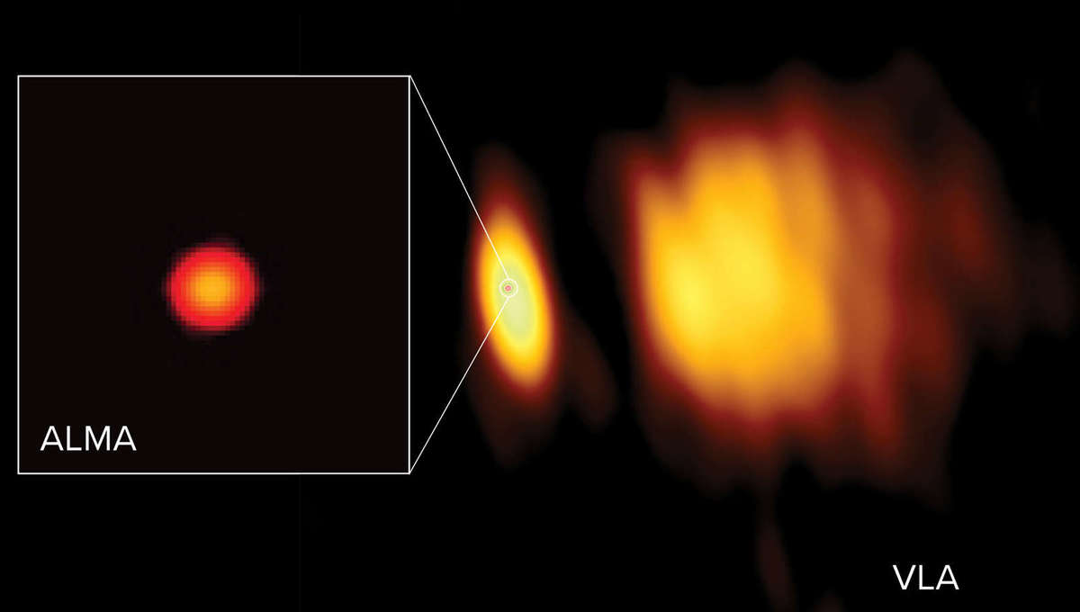A radio image of Antares using ALMA (left) shows the star's immense chromosphere, and then shows that in comparison to observations with VLA (right) that show the wind blowing from the star. The material on the right is lit by the binary companion star to