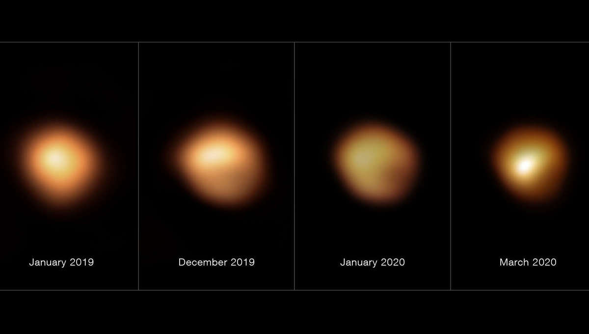 Four images from the Very Large Telescope of the red supergiant Betelgeuse (from left to right: Jan. 2019, Dec. 2019, Jan. 2020, March 2020) showing not only that it dimmed, but also that only parts of it got fainter. Credit: ESO/M. Montargès et al.