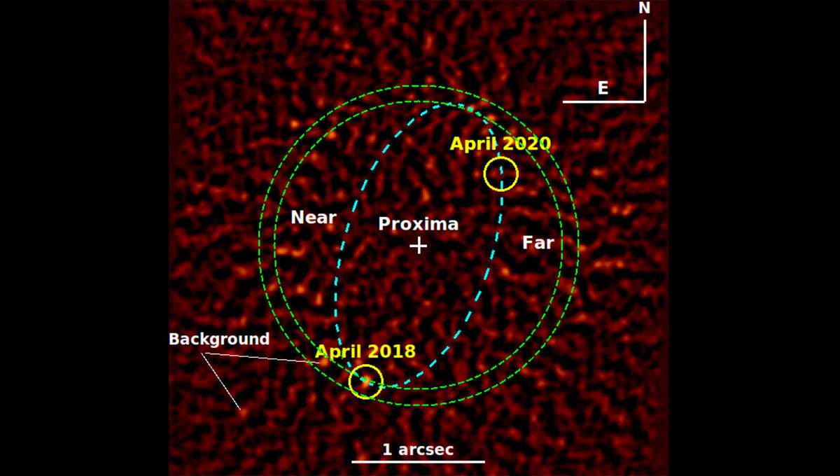 A planet orbiting Proxima Centauri? A combination of five images from the Very Large Telescope shows a blip of light where a planet was predicted to be, but cannot yet be confirmed.Credit: Gratton et al.