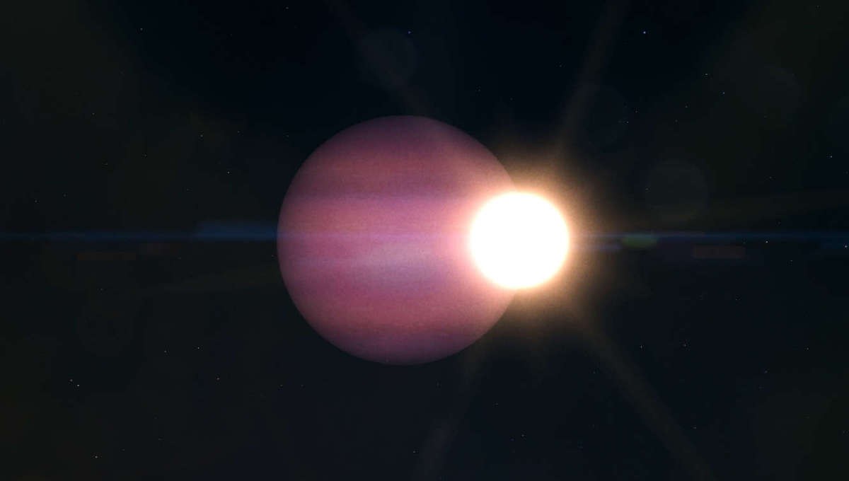 Artwork depicting the white dwarf WD 1856 and its massive planet, far larger than the star itself. Credit: NASA/JPL-Caltech/NASA's Goddard Space Flight Center