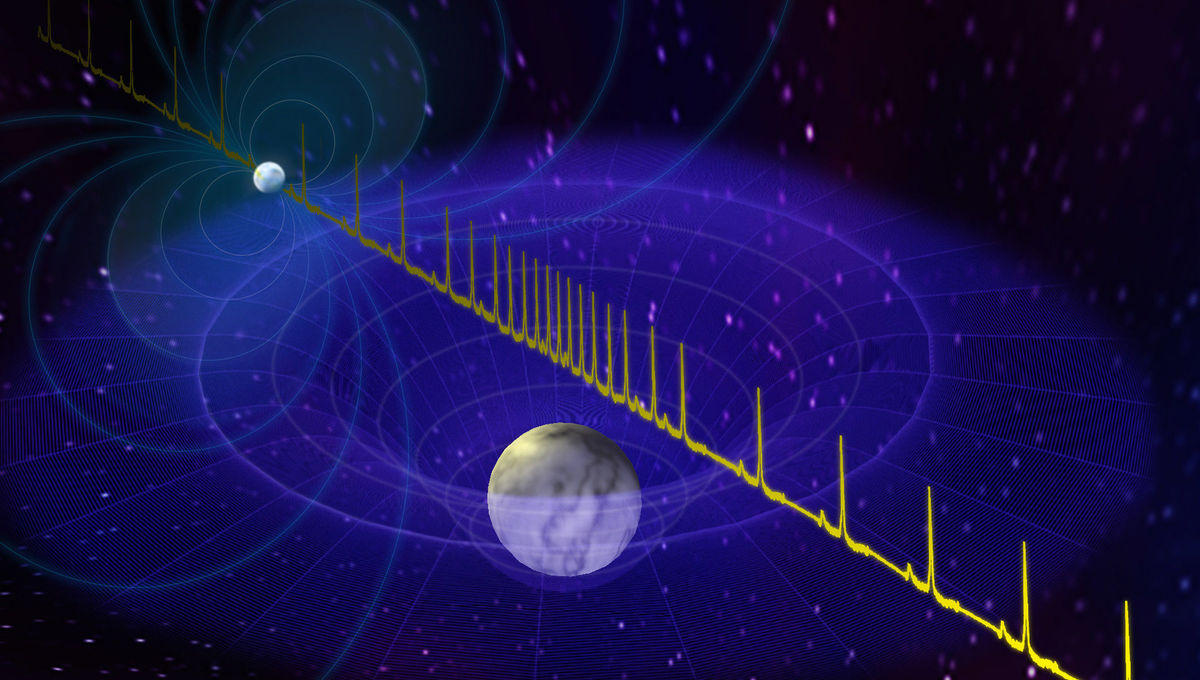 Pulses from a neutron star (smaller blue sphere) are delayed slightly by the gravity of a white dwarf (bigger sphere) as they pass by, allowing in principle the mass of the two stars to be determined. Credit: BSaxton, NRAO/AUI/NSF