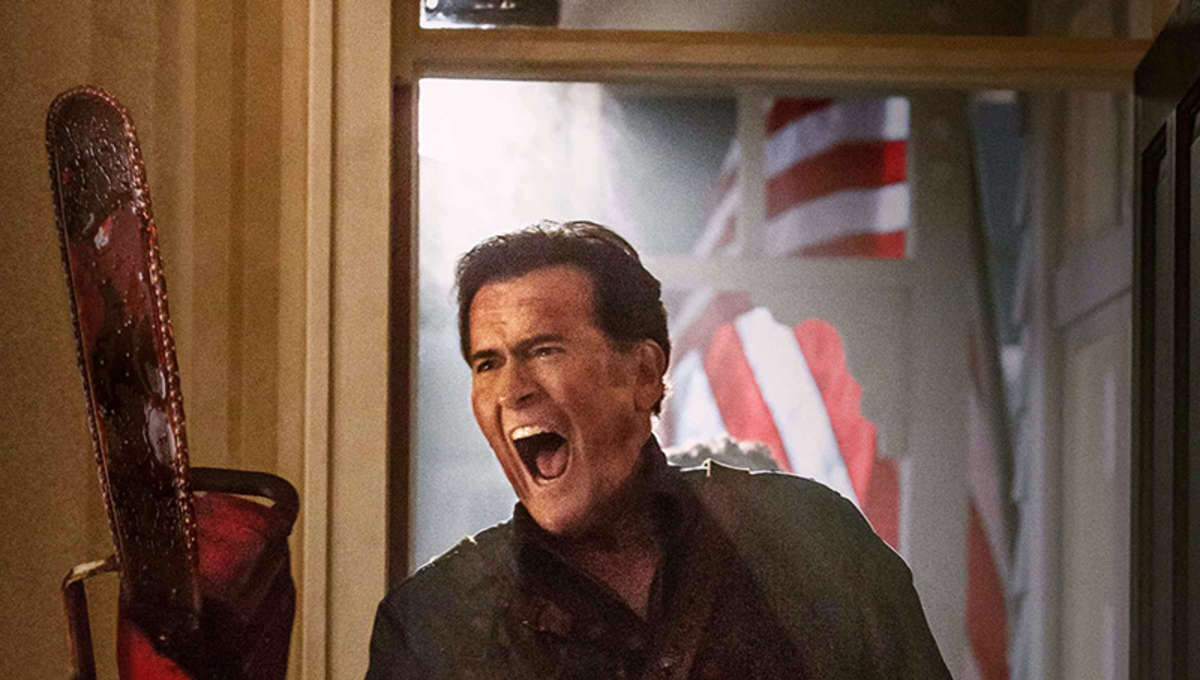 Bruce Campbell wields a mighty chainsaw in Ash vs. Evil Dead