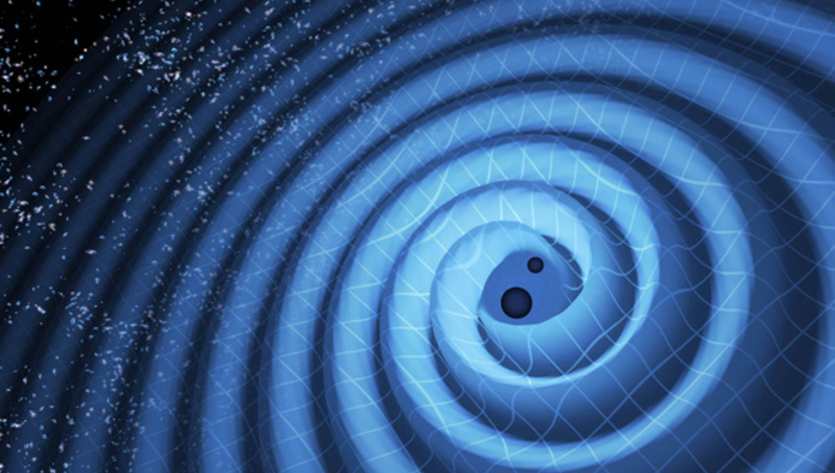 Artwork depicting gravitational waves, ripples in spacetime, generated as two black holes spiral into each other. Credit: LIGO/ T. Pyle