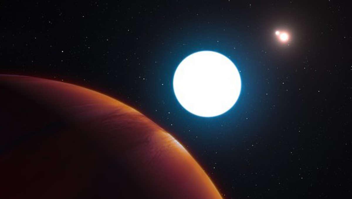Artist depiction of the planet HD 131399Ab in a triple-star system. Credit:ESO/L. Calçada/M. Kornmesser