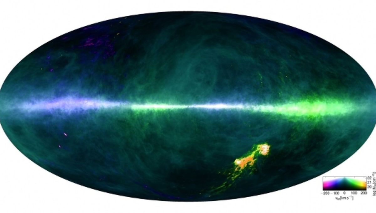 A radio wave map of hydrogen in the sky. Our galaxy appears as a thin strip across the middle, the colors changing due tothe Sun's motion around the center of the Milky Way. Credit: HI4PI Collaboration